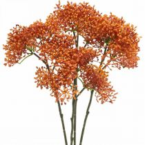 Elderberry Orange Artificial Blossom Branch 52cm 4pcs