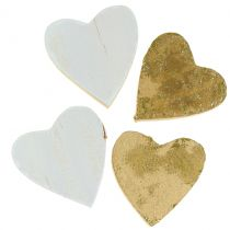 Wooden heart in the bag 2cm - 4cm 24pcs