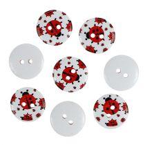 Wooden buttons with ladybug motive Ø1,8cm 270pcs