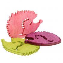 Hedgehog Figures Wood Decoration to control Mix multicolored 4cm 72pcs