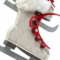 Wooden ice skate white for hanging 8cm 3pcs