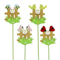 Wooden plug fence with animals 6,5cm sort. 12st
