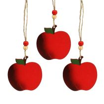Wooden apple for hanging 7cm red 24pcs