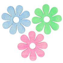 Wood flower for spreading Pink, green, blue Ø4cm 72pcs