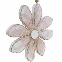 Pastel decorative blossoms, summer flowers, wood blossoms, floral decorations for hanging Ø12.5cm 3pcs