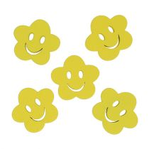 Wooden flower with face yellow 2,5cm 48p