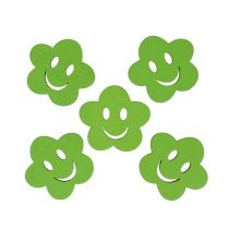 Wooden flower with face green 2,5cm 48pcs