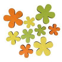 Wood Flower 2-3,5cm Orange, Green, Yellow 36pcs