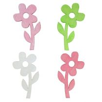 Wooden flower 6cm pastel colored sort. 72St