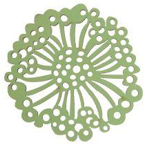 Wooden Flower Green / White 5cm 36pcs