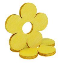Wooden flowers Ø4cm yellow 72pcs