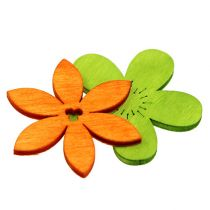 Wooden flowers 4cm colorful assorted. 72St