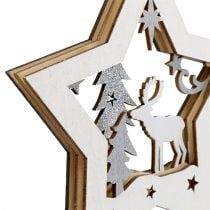 Hanging Decoration Wooden Star with motive 15cm 3pcs
