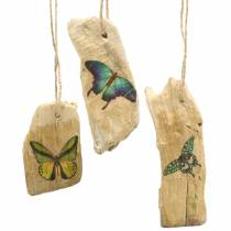 Pendant driftwood with butterfly 8-13cm 36p