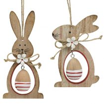 Wooden Easter bunnies for hanging with Easter eggs 12cm - 14.5cm 4pcs
