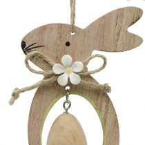 Decoration to hang wooden bunny with egg 4pcs