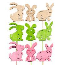 Wooden rabbits with wire pastel sort. 6cmx8cm L31cm 18pcs