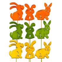 Wooden rabbits with wire assorted L31cm - 31,5cm 18pcs