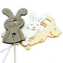 Wooden rabbits with wire sorted by nature. 6cmx8cm L31cm 18pcs