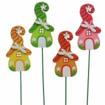 Flower plug Wichtelhaus with stick colorful assorted 5 × 9cm 16pcs