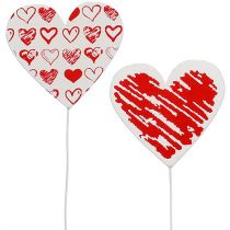 Wooden heart on the rod 7cm x 7cm white, red 12pcs