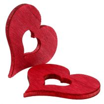 Wooden heart for sprinkling red 4cm 72pcs