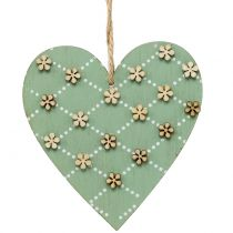 Wooden heart for hanging green / nature 10cm 4pcs