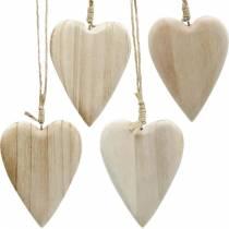 Wooden hearts to hang natural 10cm 4pcs