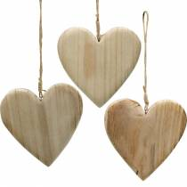 Wooden heart to hang nature decorative hearts Valentine's Day Mother's Day 3pcs