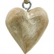 Wooden heart Christmas tree decorations 4.5cm 36pcs