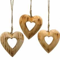 Decorative pendant heart, wooden heart, Valentine's Day, wooden pendant, wedding decoration 6pcs