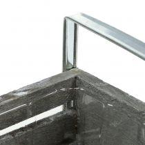 Wooden box gray 20cm x 9cm H6cm with handles