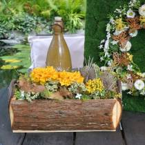 Plant box bark planter with handles natural wooden box