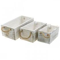 Flower box, wooden box for planting, planter, planter set L35 / 30 / 25cm