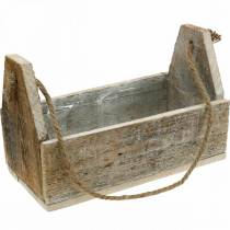 Wooden box for planting, tool box, plant box with handle, wood decoration 30cm
