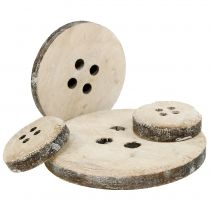 Deco button made of white washed wood 15pcs