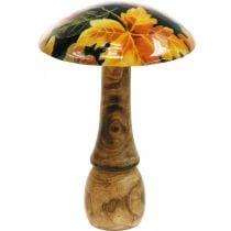 Wooden mushroom decoration colorful leaves autumn decoration black, colorful Ø13cm H19cm