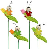 Wooden caterpillar on rod 8cm sort. 24pcs