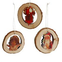 Wooden ring with picture 6pcs