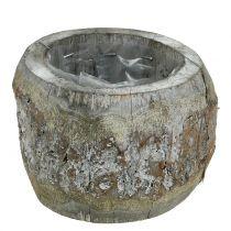 Wooden pot for planting White washed Ø14cm