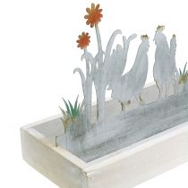Wooden tray with deco plug Spring meadow 43cm