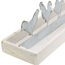 Wooden tray with figurines Cocks 46cm