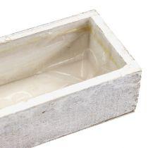 Wooden bowl for planting white 30cm x 9cm x 6cm