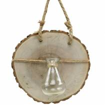 Wooden Disc with Glass Vase Ø22cm Hanging décor