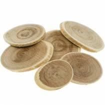 Decorative wooden discs oval natural disc Ø4-7cm wooden decoration 400g