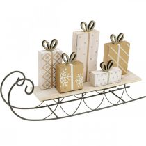 Sleigh with gifts, Advent, decorations for Christmas L37.5cm H23cm