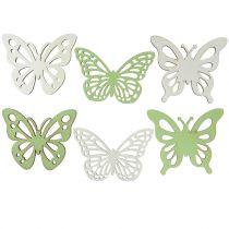 Wooden butterfly green / white 5cm 36pcs