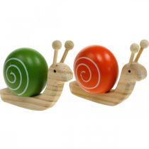 Wooden snails for decoration, spring, garden snail green-orange, table decoration 6pcs