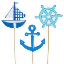 Wooden plug maritime blue 9pcs