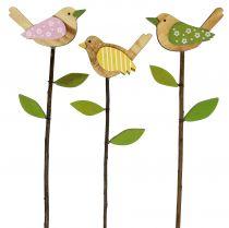Wooden pin bird colored L30cm 9pcs